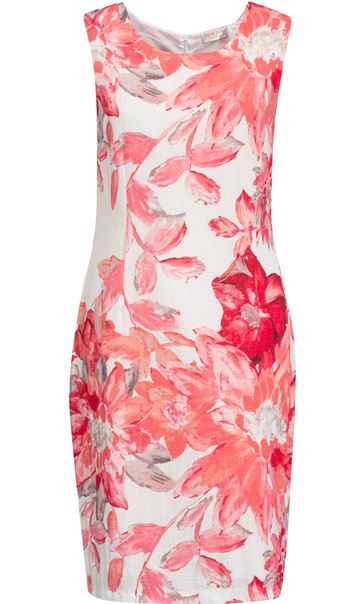 Anna Rose Printed Crinkle Shift Dress Deep Coral/Multi