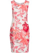 Anna Rose Printed Crinkle Shift Dress Deep Coral/Multi - Gallery Image 1