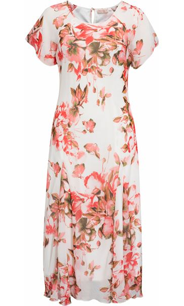 Anna Rose Short Sleeve Bias Cut Printed Midi Dress Deep Coral/Multi