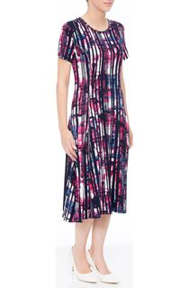 Anna Rose Short Sleeve Stripe Printed Midi Dress