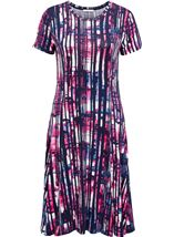 Anna Rose Short Sleeve Stripe Printed Midi Dress Navy/Pink - Gallery Image 1