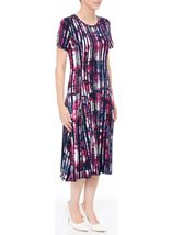 Anna Rose Short Sleeve Stripe Printed Midi Dress Navy/Pink - Gallery Image 2