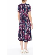 Anna Rose Short Sleeve Stripe Printed Midi Dress Navy/Pink - Gallery Image 3