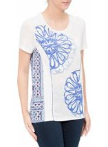 Anna Rose Short Sleeve Panelled Top White Tile - Gallery Image 2