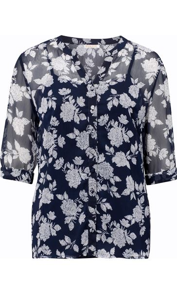 Anna Rose Printed Chiffon Blouse With Cami Navy/White
