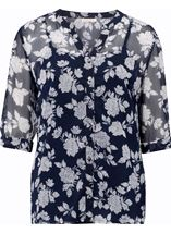Anna Rose Printed Chiffon Blouse With Cami Navy/White - Gallery Image 1