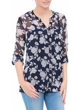 Anna Rose Printed Chiffon Blouse With Cami Navy/White - Gallery Image 2