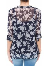 Anna Rose Printed Chiffon Blouse With Cami Navy/White - Gallery Image 3