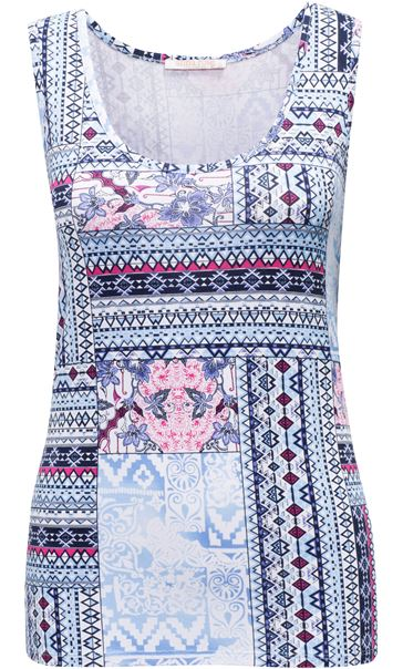 Anna Rose Printed Vest Top Navy Tile