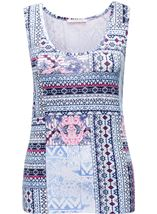Anna Rose Printed Vest Top Navy Tile - Gallery Image 1