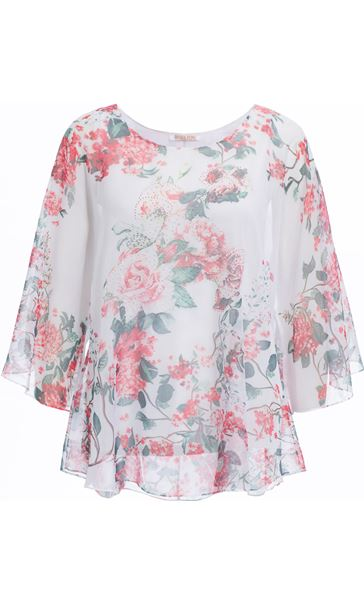 Anna Rose Embellished Floral Print Top Salmon