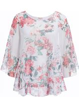 Anna Rose Embellished Floral Print Top Salmon - Gallery Image 1