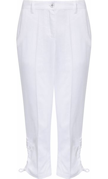 Anna Rose Linen Blend Cropped Trousers White