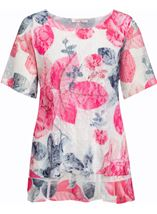 Anna Rose Layered Printed Short Sleeve Top Pink Rose - Gallery Image 1