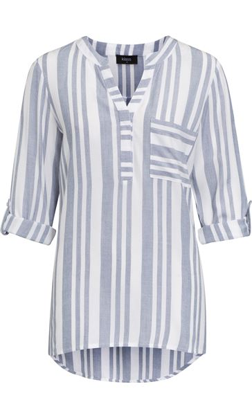 Turn Sleeve Striped Cotton Top Blue/White