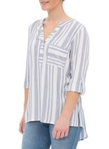 Turn Sleeve Striped Cotton Top Blue/White - Gallery Image 2