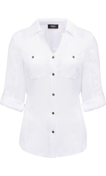 Fitted Washed Turn Sleeve Shirt White