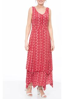 Printed Crinkle Shaped Hem Maxi Dress