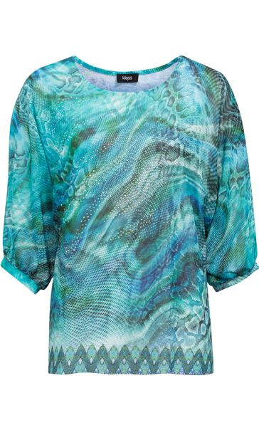 Animal Printed Georgette And Jersey Top Multi Blue