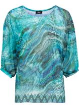 Animal Printed Georgette And Jersey Top Multi Blue - Gallery Image 1