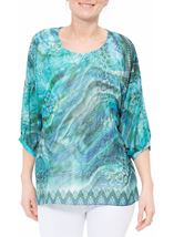 Animal Printed Georgette And Jersey Top Multi Blue - Gallery Image 2
