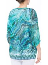 Animal Printed Georgette And Jersey Top Multi Blue - Gallery Image 3