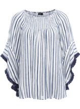 Boho Striped Wide Sleeve Top White/Blue - Gallery Image 1