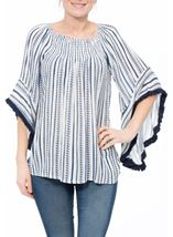 Boho Striped Wide Sleeve Top White/Blue - Gallery Image 2