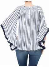 Boho Striped Wide Sleeve Top White/Blue - Gallery Image 3