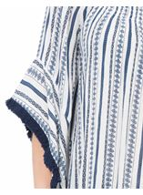 Boho Striped Wide Sleeve Top White/Blue - Gallery Image 4