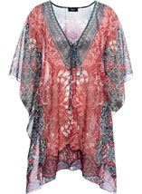 Printed Georgette Cover Up Pepper - Gallery Image 1