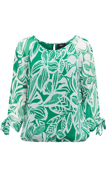 Leaf Printed Tie Sleeve Georgette Top Emerald