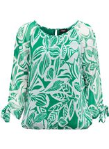 Leaf Printed Tie Sleeve Georgette Top Emerald - Gallery Image 1