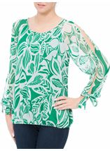 Leaf Printed Tie Sleeve Georgette Top Emerald - Gallery Image 2