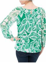 Leaf Printed Tie Sleeve Georgette Top Emerald - Gallery Image 3