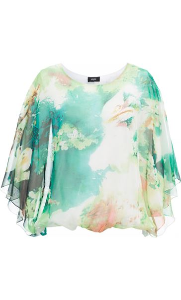 Printed Georgette Kimono Top Ivory/Hot Pink