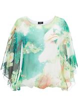 Printed Georgette Kimono Top Ivory/Hot Pink - Gallery Image 1