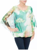 Printed Georgette Kimono Top Ivory/Hot Pink - Gallery Image 2