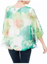 Printed Georgette Kimono Top Ivory/Hot Pink - Gallery Image 3