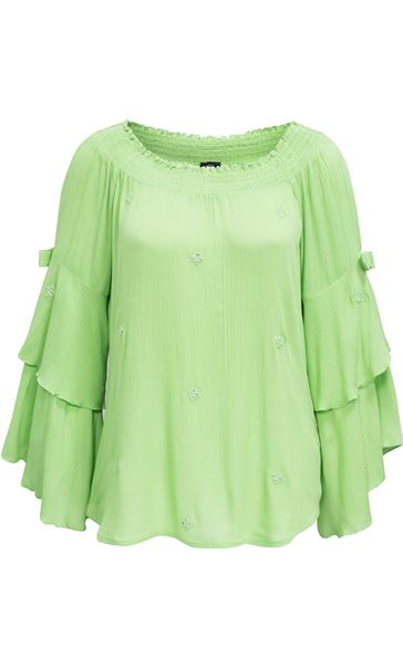 Boho Three Quarter Bell Sleeve Smocked Top Apple Green