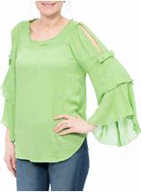 Boho Three Quarter Bell Sleeve Smocked Top Apple Green - Gallery Image 2