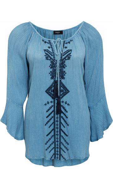 Embroidered Boho Tassel Tie Top Light Blue
