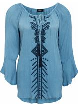 Embroidered Boho Tassel Tie Top Light Blue - Gallery Image 1