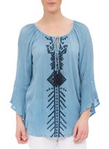 Embroidered Boho Tassel Tie Top Light Blue - Gallery Image 2