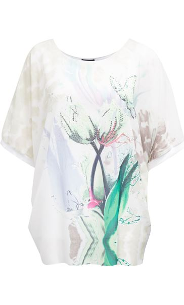 Printed Georgette And Jersey Top Ivory/Green