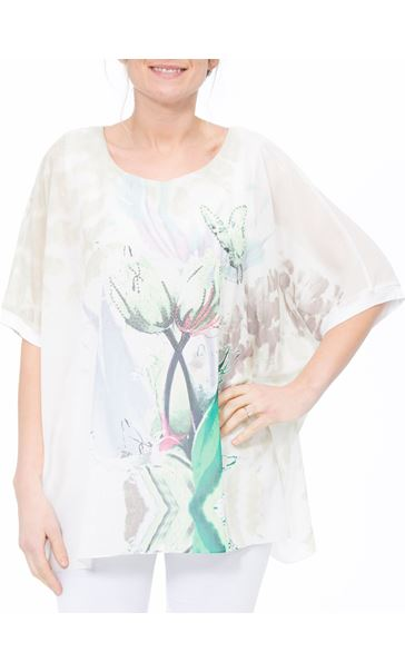 Printed Georgette And Jersey Top Ivory/Green - Gallery Image 2