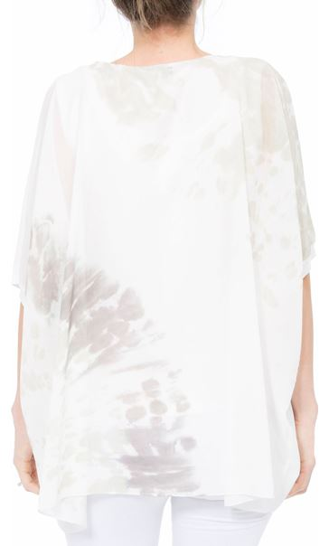 Printed Georgette And Jersey Top Ivory/Green - Gallery Image 3