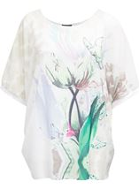 Printed Georgette And Jersey Top Ivory/Green - Gallery Image 1