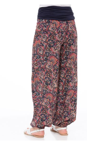 Elasticated Cuff Loose Fitting Printed Trousers