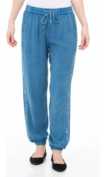 Elasticated Cuff Loose Fitting Embroidered Trousers Lt Denim